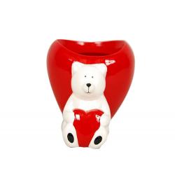 STVAL - Pot ours cœur Céramique Rouge L16,5 X P14 x H10,5 cm