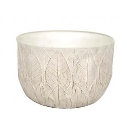 SITA - Coupe motifs feuilles Céramique Blanche D17 x H9 cm