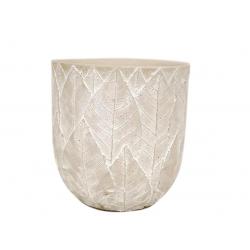 SITA - Cache-pot motifs feuilles Céramique Gris D11,5 x H10 cm