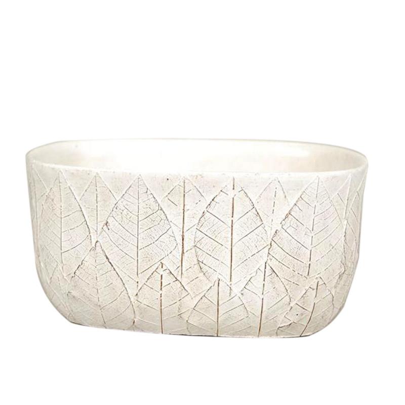 SITA - Jardinière motifs feuilles Céramique Blanche L21 x P13 x H9 cm