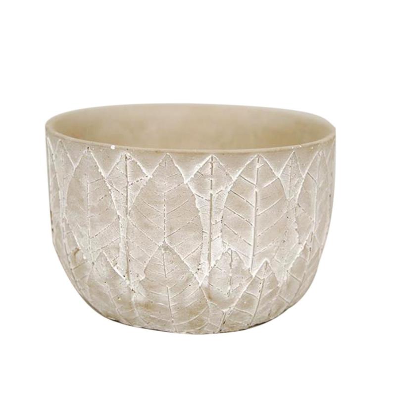 SITA - Coupe motifs feuilles Céramique Gris D17 x H9 cm