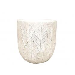 SITA - Cache-pot motifs feuilles Céramique Blanc D11,5 x H10 cm