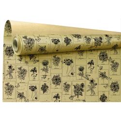 CURIOSITY - Papier Kraft Ecru Motifs noirs 0.80 x 40 m
