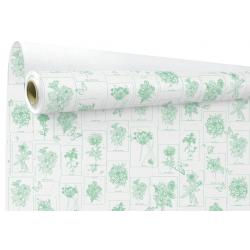 CURIOSITY - Papier Kraft Blanc Motifs verts 0.80 x 40 m