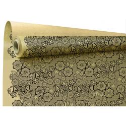 BRODERIE - Papier kraft Noir Motifs broderie 0.80 x 40 m