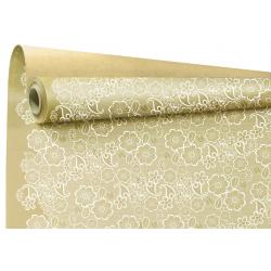 BRODERIE - Papier kraft Blanc Motifs broderie 0.80 x 40 m
