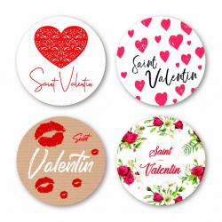 VAL - Etiquettes Voeux Assort. par 500 St valentin