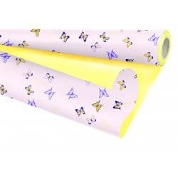 FLORAISON - Papier Kraft Violet / Jaune 0.79 x 25 m