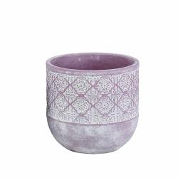 MASARI - Cache-pot Ciment Lilas et blanc D17 x H16 cm