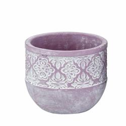 MASARI - Cache-pot Ciment  Lilas - blanc D10,5 x H9 cm