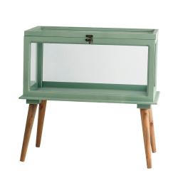 FUBEN - Jardinière sur pieds en bois et verre Verte L54 x P32 x H52 cm