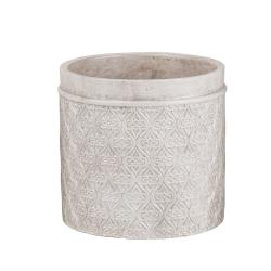 MINEA - Cache-pot Ciment Blanc - argent D14 x H13 cm