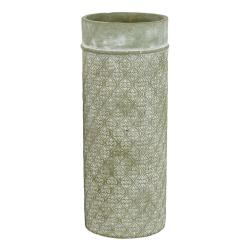 MINEA - Vase Ciment Blanc - vert D14,2 x H30 cm