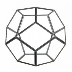FER - Terrarium Verre et Support Fer Noir D18X18 H15 cm