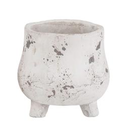BIKO - Pot sur pieds Ciment Blanc D18 x H16 cm