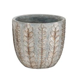 SINARA - Cache-pot Ciment Gris argenté D20 x H18 cm