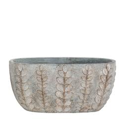 SINARA - Jardinière Ciment Gris argenté L21,5 x P11,5 x H9,5 cm