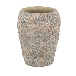 SIKARA - Vase Ciment Marron D17,5 x H23 cm