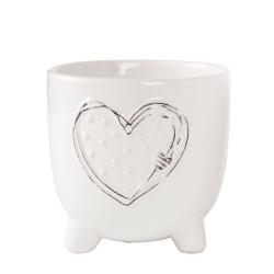 HERZ - Cache-pot cœur sur pieds Céramique Blanc L12 x P12 x H12 cm