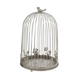 CAGE - Cage oiseaux Fer Grise L25 x P25 x H39,5 cm