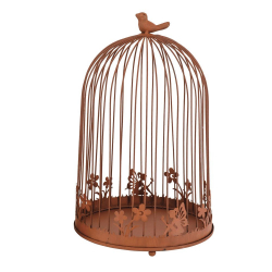 CAGE - Cage oiseaux Fer Rouille L25 x P25 x H39,5 cm