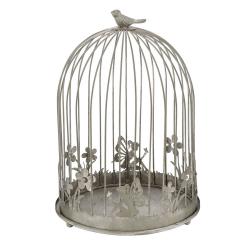 CAGE - Cage oiseaux Fer Grise L20 x P20 x H30 cm