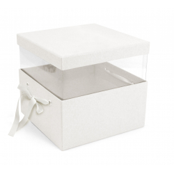 PANDORE - Box carrée Kraft Blanche L21 x P21 x H15 par 2