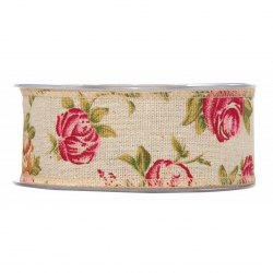 NANCY - Ruban Jute Avec Rose 40mmx10m