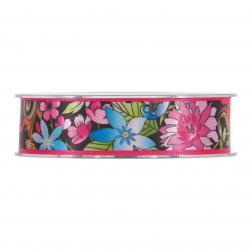 PEONIA - Ruban 25mm x 20m Fleur Noir