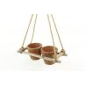 CLAY - 2 Pots Terre cuite Support Bois et Corde Suspendu L30 x P17 x H55 cm