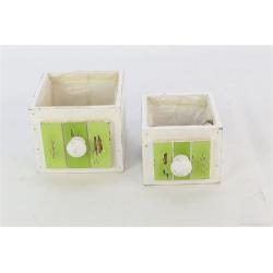 DRAWER - Cache-pots tiroir Bois Vert L13 x P13 x 10,5 cm par 2