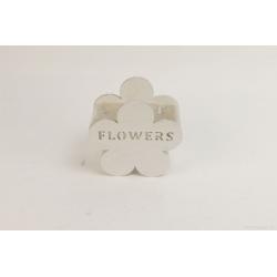 FLOWER - Cache-pot fleur Bois Blanc L14 x P8.5  x H13.5 cm