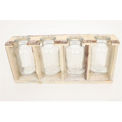 STASH - 4 Bouteilles verre + Support bois L36 x P7 x H16 cm