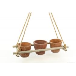 CLUB - 3 Pots Suspendus avec cordes Terre cuite  L41 x P18 x H59 cm