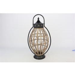 MINING - Lanterne Bois et fer noir D28 x H60 cm