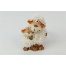 TOUPEE - Figurines 2 moutons Bois et laine L8 x P6 x H10.5 cm