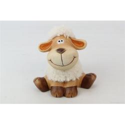 TOUPEE - Figurine mouton Bois et laine L15.5 x 11 x H15 cm