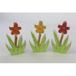 SHEEMA - Figurines fleurs Bois Assorties L11.5 x P2.5 x H20 par 3