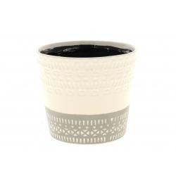 HIRA - Cache-pot Céramique Bicolore Blanc D12 x H10.5 cm