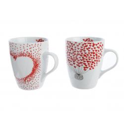 MUG - Tasses Coeur Porcelaine Blanches L8 x P12 x H10 cm par 2