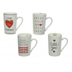 MUG - Mug Coeur Porcelaine Blancs L8 x P11 x H12,5 cm par 4
