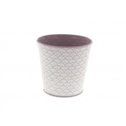 CERCLE - Cache-pot à motifs Zinc Rose D13/9.5 x H12.5 cm
