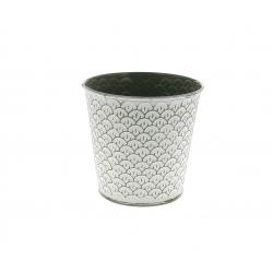 CERCLE - Cache-pot à motifs Zinc Vert D10.5/7.5 x H10.5 cm
