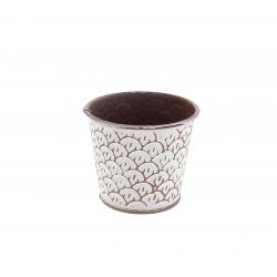 CERCLE - Cache-pot à motifs Zinc Rose D10.5/7.5 x H10.5 cm