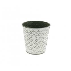 CERCLE - Cache-pot à motifs Zinc Vert D15/11 x H13 cm