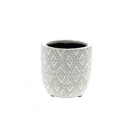 HIRA - Cache-pot losange Créamique Blanc D8.5 x H8 cm