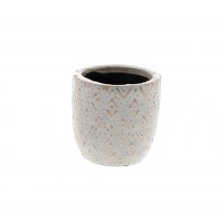 HIRA - Cache-pot losange Céramique Rose D8.5 x H8 cm