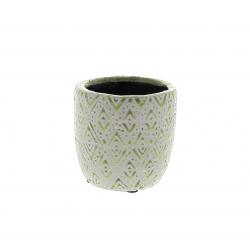 HIRA - Cache-pot losange Créamique Vert D8.5 x H8 cm