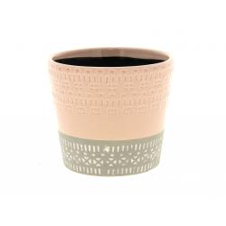 HIRA - Cache-pot Céramique Bicolore Rose D12 x H10.5 cm