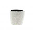HIRA - Cache-pot losange Céramique Blanc D14,5 x H13 cm